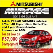 2016 mitsubishi mirage g4 gls a t for sale in qc.